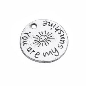 Salemy ensemble pendentif en alliage forme plaqué argent antique message vous êtes mon rayon de soleil charmes disque rond gros 10pcs beaucoup