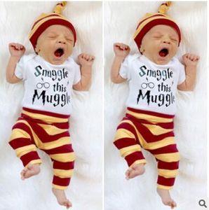 Abbigliamento per bambini Bambini INS Abiti di moda Toddler Lettera Tuta Pantaloni a righe Cappello Abiti infantili Fox Stripe Stampa Pagliaccetto Pantaloni Cappellini TX14