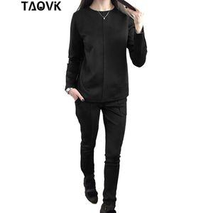 Nueva moda Mujer Otoño Suede Chándal Mujeres Sudaderas con capucha 2 -Piece Set T -Camisas + Pantalones largos Ocio Trajes al por mayor