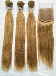 Бразильские светлые человеческие волосы 3 пачки с закрытием шнурка покрасили расширения Веаве человеческих волос Реми 27 # бразильские прямые с закрытием