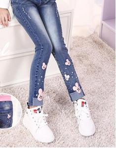 2018 новые горячие продажи моды весной и осенью детские девушки джинсовые брюки детский мультфильм Микки голову случайные брюки