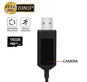 La última cámara de detección de movimiento FULL HD 1080P Cable USB Cargador Niñera Cámara con 16 GB de memoria interna Grabación en bucle Cable de datos USB Cámara