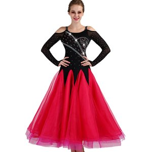 2018 NUEVO Customized Rhinestones Ballroom Dance Competition Dresses Vestidos de baile estándar Ballroom Dress manga larga D0973 Hot Pink