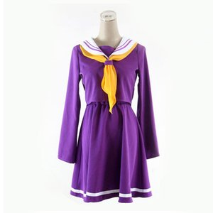 Tamaño asiático Japón Anime NO GAME NO LIFE Shiro Cosplay Party Disfraz de Halloween Purple Kawaii Uniforms Dress