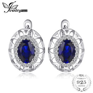 JewelryPalace Einzigartiges Design 2.4ct Erstellt Blue Sapphire Clip On Earrings 925 Sterling Silver Fine Jewelry Statement-Ohrring S18101307