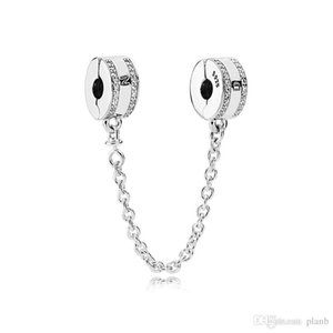 Moda Feminina 925 Sterling Silver Limpar CZ Cadeia De Segurança Clipe fit Pandora Encantos Pulseira DIY Fazer Jóias