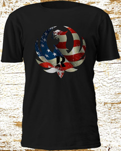 New Special RUGER Feuerwaffe American FLAGGE GEWEHR MILITARY HK Black T-Shirt M-3X