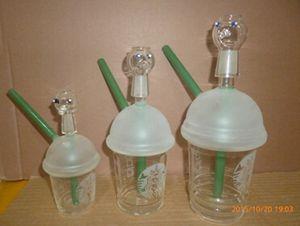10mm conjunta mini copo de Starbucks bongos de vidro canos de vidro jateado para fumar plataformas de óleo de vidro bongos de água e unhas narguilé