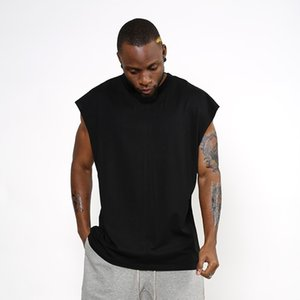 Nuevo diseño Sleeveness Fashion Hip Hop Plain Plus Camiseta de manga corta Brand Men T -Camisa sin manga sobre el tamaño de los hombres