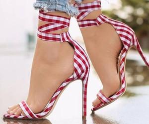 Art- und Weisefrauen-Sandelholz-Gitterdrucktuch der hohen Art und Weise 2018 wedding Schuhe für Damen-freies Verschiffen-dünne Ferse Partei beschuht Gladiator-Sandelholze