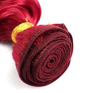 Nuovo stile brasiliano 100% tessitura dei capelli umani 10-30 pollici colore rosso onda dei capelli del corpo tessuto 6a brasiliano non trasformati estensioni dei capelli vergini