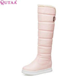 QUTAA 2019 Kadınlar Diz Üzerinde Yüksek Çizmeler Tüm Maç Platoform Takozlar Topuk Kış Çizmeler Sıcak Tutmak kadın Ayakkabı Boyutu 34-43