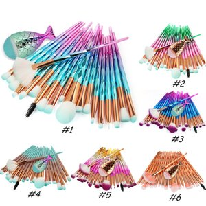 Mermaid Makeup Brushes Set 21pcs Foundation Blush Eyeshadow Eyes Diamond Little Fish Tail Contour Blending Make up Brush Kit Tools