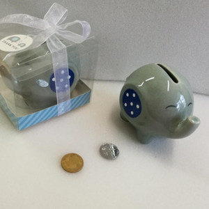 Baby Shower Party Ritorno Regali Souvenir in ceramica rosa blu Elephant Piggy Bank Coin box 100 pezzi all'ingrosso