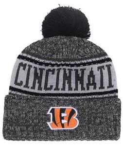 I più venduti Berretti a cuffia Cincinnati Sideline Cold Weather Reverse Cuff cuff in maglia con pom Winer Skull Caps