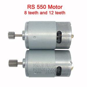 Dc moteur 12v pour enfants voiture électrique, rc voiture dc moteur 6v, moteur de voiture bébé électrique, moteur rs550 avec 12 dents et 8 dents gear