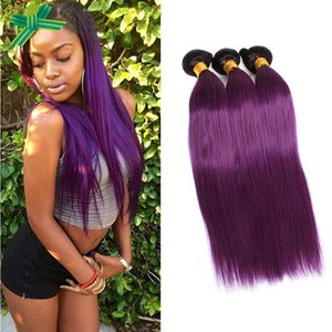 Dark Root Two Tone Malaysian Human Hair Bundles # 1B Púrpura Straight Human Hair Extensions Ombre Purplr Hair Weaves Double Wefted