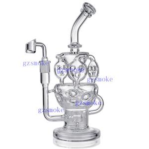 Reciclador Bong Dab Rig fab ovo ciclone inline percolator heady bongs engrenagem perc tubulações de água equipamento de petróleo tubo de cera de quartzo banger acessórios de fumar