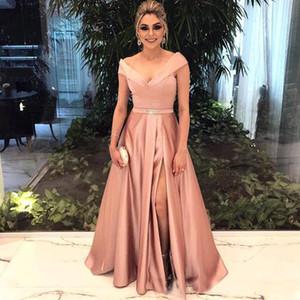 Элегантный с плеча длинные вечерние платья 2018 Новый линия атласная сторона Сплит Пром платья с поясом формальные партии носить