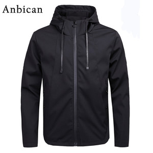 Anbican 2018 Primavera Otoño Marca Chaqueta casual Hombres Moda Cazadora con capucha Abrigo Hombres Chaquetas softshell negras Tallas grandes M-4XL