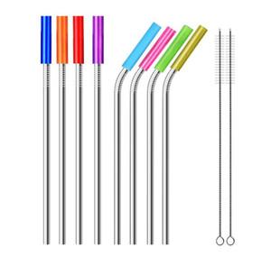 Pailles en acier inoxydable réutilisables droites et pliez Pailles en métal avec des bouts de silicone Pinceau de nettoyage bar paille SN812