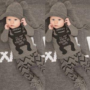 Одежда для новорожденных Наборы Детские Новорожденный ребенок Мальчики с длинным рукавом Panda футболка + полосатые брюки Одежда для младенцев Комплекты Комплекты 0-24М