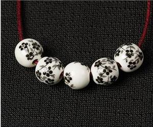 100pcs / lot Fleur Imprimé Perles Rondes En Porcelaine 10mm Artisanal En Céramique Charme Entretoise DIY Bijoux Making Perles