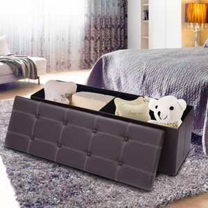 "45""x15""x15"" Large Folding Storage Faux Leather Box Stool Brown"