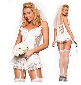 웨딩 드레스 가터 벨트가있는 흰색 레이스 웨딩 드레스 브라 섹시 속옷 잠옷