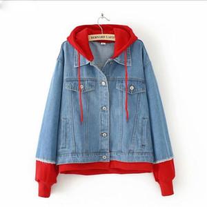 Nueva innovación de la chaqueta de mezclilla de algodón Gran tamaño de las mujeres de otoño de invierno grasa con Red Hat Stitching Denim Jacket