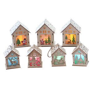 Casa in legno casa con decorazioni natalizie Decorazioni natalizie con luci Mini modello Hanging Decor Ornaments for Home