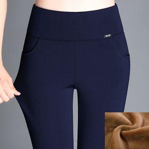 BIG Taille d'hiver Russie Femmes Skinny Slim épais molleton velours leggings Pantalon chaud à haute taille élastique lambrissé Lady rouge Pantalon longues Casual