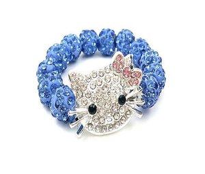Comercio al por mayor Crystal Rhinestone Candy Color Beads pulsera Pink Kitty Cat Girls pulsera con cuentas accesorios de la joyería regalos para niños