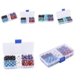 8mm nero e colorato Lava Stone Beads Round Rock Beads gemme vulcaniche branelli allentati per la creazione di gioielli braccialetto collana