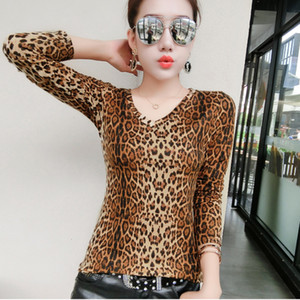 2018 Sexy Ladies Leopard Print Blouse Women V Neck Long SleeveBlouses Ladies Tops Plus Size Shirt Women Blusas Chemise Femme