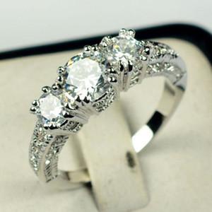 Heißer Verkauf Mode Weiß Gold Saphir Ehering Frauen Luxus Edelstein Verlobungsring Inlay Zirkon Ring Schmuck