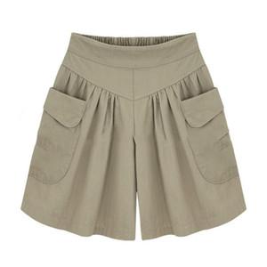 2018 Summer Plus taille courte femmes XL- 4XL 5XL Wide Leg Shorts Femme Casual Loose Ladies Kaki Taille haute pantalones minces cortos