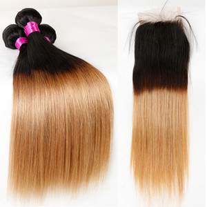 Ombre Straight Human Hair Bundles with Closure T1B 27 Brazilian Remy Hair Weave 3 Bundles with Lace Closure Free Part