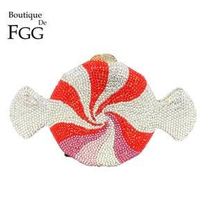 Fiesta de la boda del bolso de tarde Boutique De FGG cristal de las mujeres del embrague de metal caramelo de la manera del bolso y el monedero del bolso de mano de novia