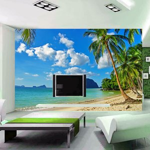 Sudeste de Asia Seaside Landscape Personalizar Personalidad 3D Mural Beach Trees Wallpaper Living Room Sofa Telón de fondo Mural de Papel de la pared