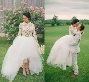 Two Pieces Lace Wedding Dresses 2018 High Neck Jewel Long Sleeves Bridal Dresses Tulle Layers Illusion High Low Dresses Wedding Gowns Cheap