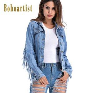 Bohoartist Frauen Mantel Herbst lose Einreiher Quaste getragen Mädchen Mode Adrette Boho große Größen Denim Jacken 2018