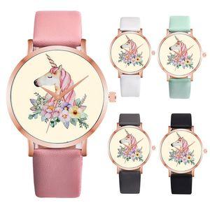 Çift PU deri karikatür Unicorn çiçek at izle 2018 yeni moda kadınlar kuvars parti bilek saatler C3654