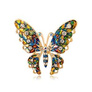 Multicolor Rhinrstone Butterfly Brooch 5.3 * 4.6cm mujeres niñas traje solapa pin accesorios de la joyería para la fiesta de regalo con envío rápido