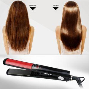 جديد برو شعر مستقيم 1 بوصة عرض التيتانيوم / السيراميك الأشعة تحت الحمراء الحديد المسطح استقامة الحديد التصميم أداة LED الرقمية فرد الشعر