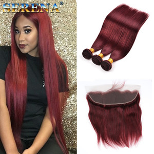 """99J # Burgundy 10 """"-30"""" Hair pele trama extensão do cabelo superior vermelho Remy brasileira 3 pacotes com fecho real Cabelo natural humano Com Frontal"""
