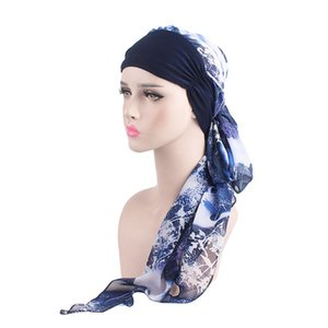 Spring And Autumn Woman Beanie Chiffon Ribbon Scarf Cap Headscarf Hat Elastic Headband Chemotherapy Caps Casquette 16 98gf gg