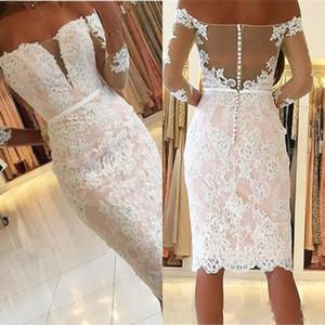 Элегантные наружные плечи Оболочка колена длиной коктейль вечернее платья 2020 прозрачные длинные рукава с аппликацией коротких домохозяйственных платьев