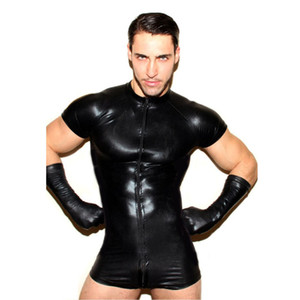 Mens Sexy Body Lingerie Gay Male Faux Leather Splice Soft Boxer Shorts Leotard Jumpsuit Hombre Sexy Perspectiva Body