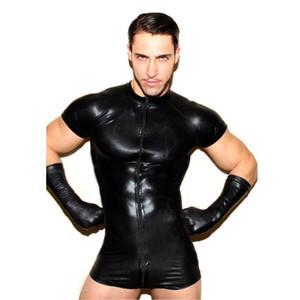 Mens sexy della biancheria della biancheria Gay maschile in pelle sintetica Splice Pantaloncini morbidi Body tuta da uomo sexy prospettiva tuta